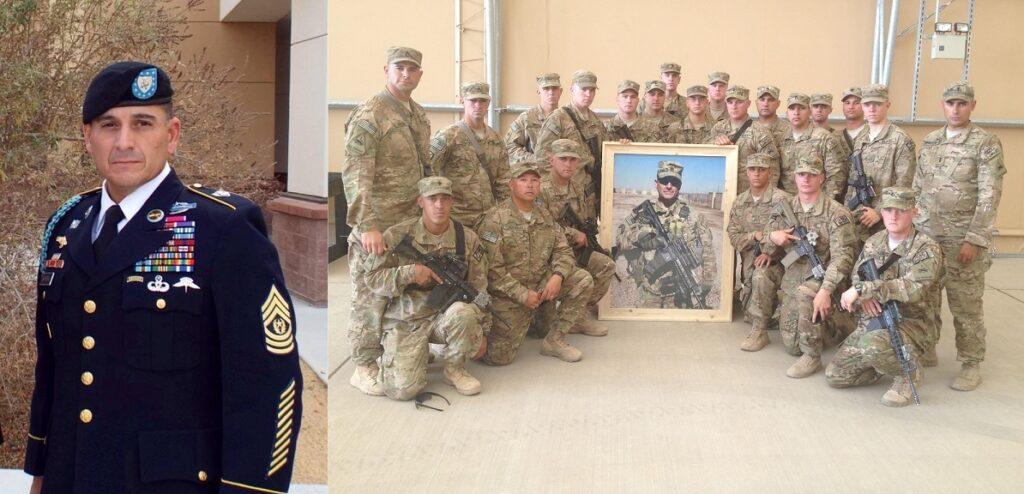 """At left, CSM Martin """"Gunny"""" Barreras poses in uniform. At right, his soldiers pose with a photograph of him. Gunny Barreras' memory is the spirit of Project Refit."""