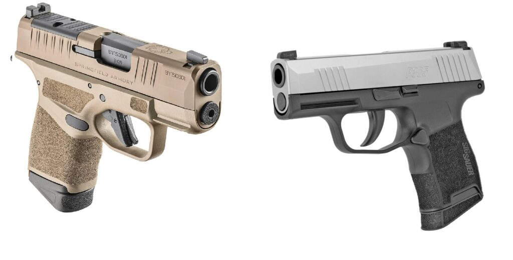At left, the coyote brown Springfield Hellcat carries 11 rounds in a wider double stacked magazine. Its trigger is superior to the trigger on the easier-to-grip dual tone Sig Sauer P365 shown right.