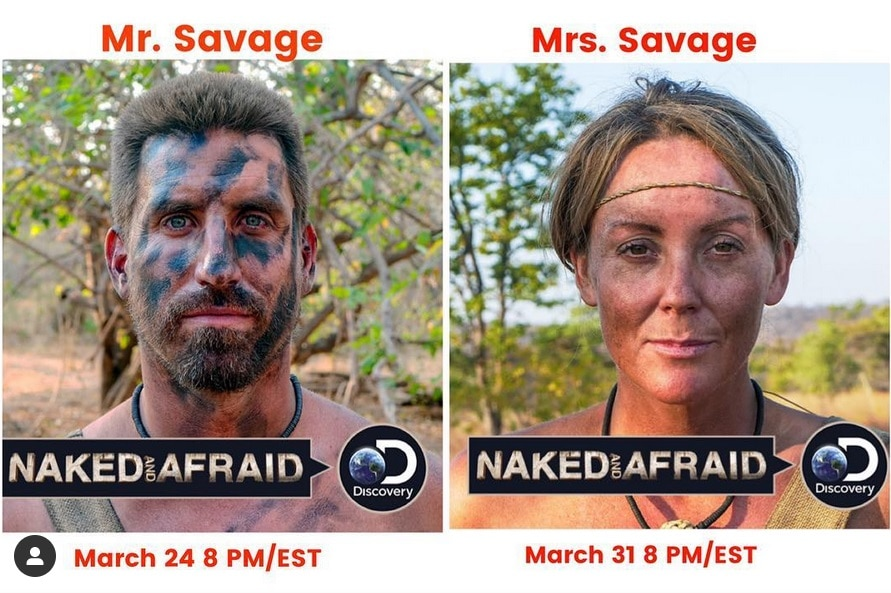 In left panel, Matt Wright wears primitive camouflage. In the right panel, his wife, Brooke.