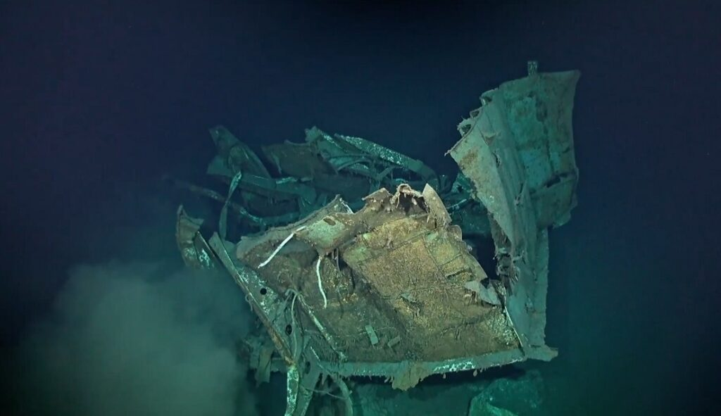 Image depicts the wreckage of USS Johnston, a fellow tin can sunk by the Japanese Navy at Samar. Samuel B. Roberts and Hoel have not yet been found. USS Heermann was the only tin can to survive the action.