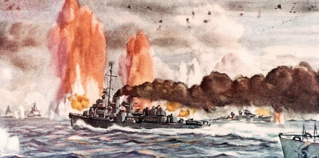 """Watercolor by Commander Dwight C. Shepler, USNR, depicting an episode during the torpedo attacks by the TG 77.4.3 (""""Taffy 3"""") destroyer screen. Ships present are (left to right): Japanese battleships Nagato, Haruna, and Yamato, with salvo (Japanese shells contained dye for spotting purposes) from Yamato landing in left center; USS Heerman (DD-532), USS Hoel (DD-533) sinking; Japanese cruisers Tone and Chikuma"""