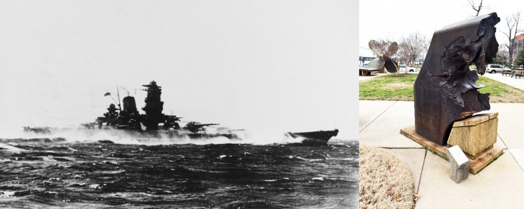 Pictured left is the battleship Yamato at sea. At right is a section of 26