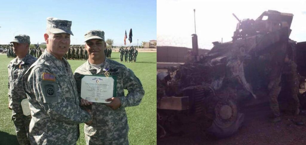 Left image depicts Project Refit co-founder Daniel Lombard being awarded his Purple Heart. At right is the vehicle he was driving when he struck a 200 lbs IED.