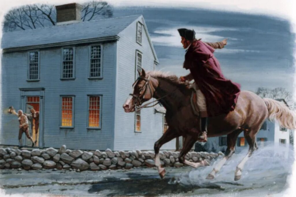 On the night of April 18, Paul Revere rode through Patriot areas to warn colonials British soldiers had landed at Charlestown.