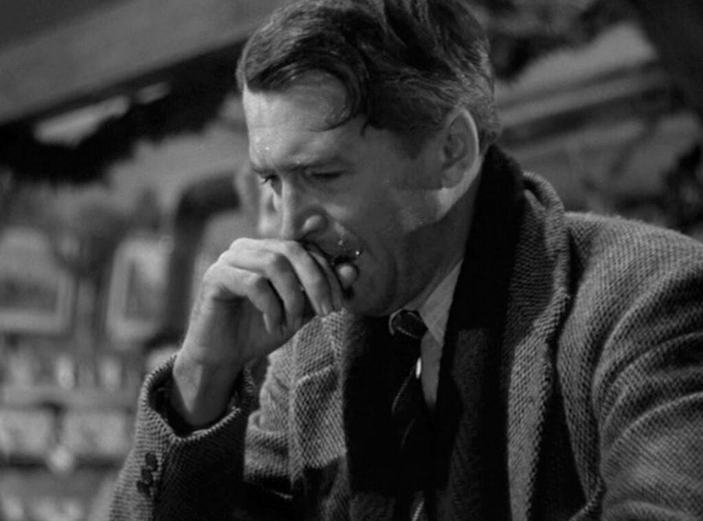 James Stewart copes with PTSD as George Bailey in It's a Wonderful Life
