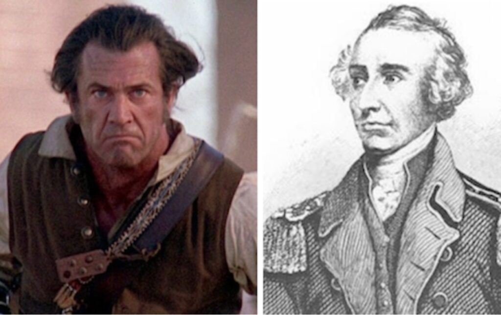 At left the Patriot's Benjamin Martin, played by Mel Gibson, courtesy of Columbia Pictures. At right, the historical figure, Francis Marion.