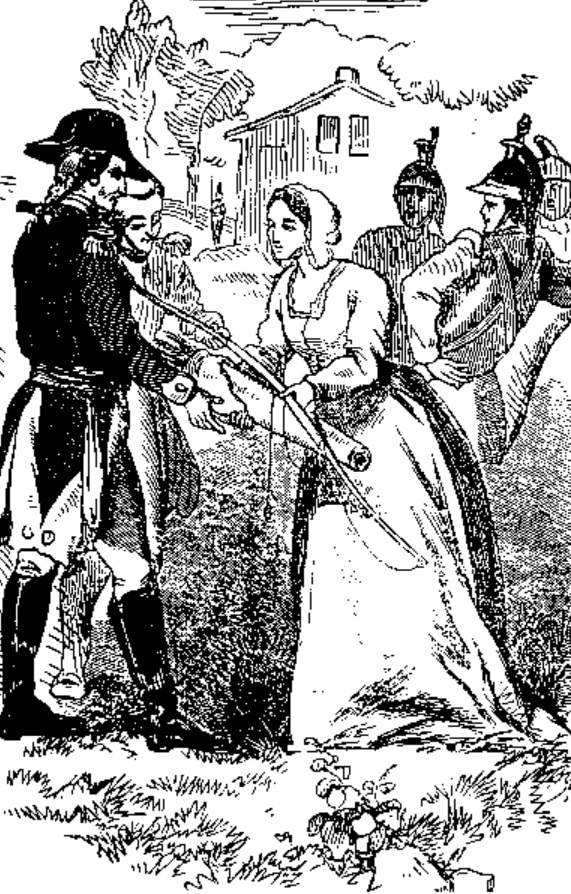 """Drawing depicts Rebecca Motte presenting Col. """"Light Horse Harry"""" Lee a bow and quiver of arrows for the siege of Fort Motte"""