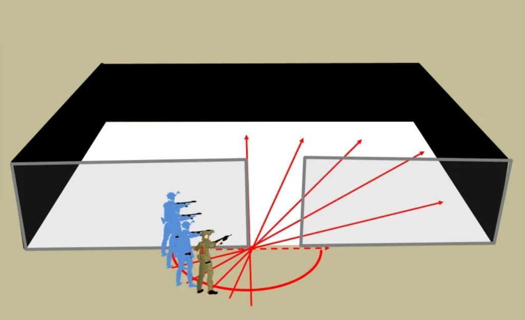Individual makes deliberate movements to assess next room before entering.