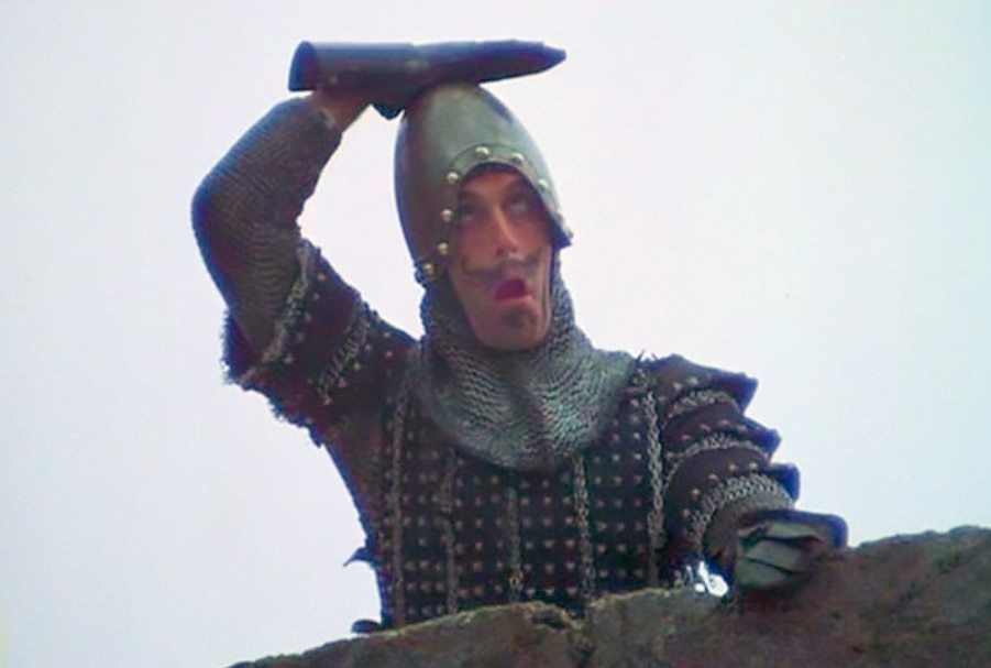 The French guard in the British comedy Monty Python and the Holy Grail makes taunting gestures.
