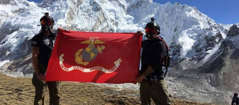 Military Free Fall Team at the Top of the World