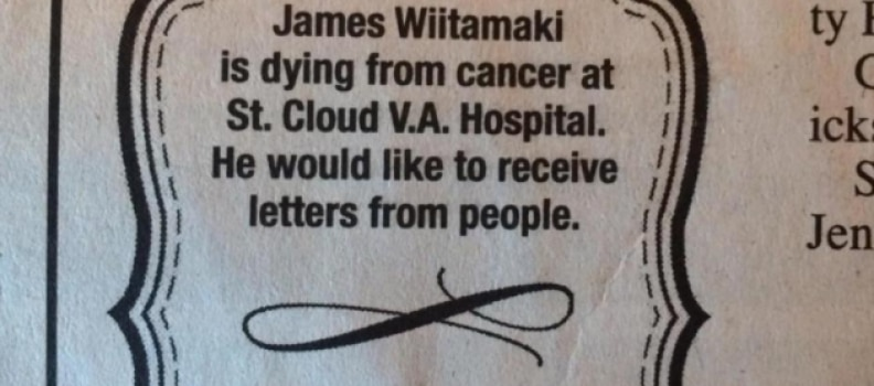 Veteran Dying of Cancer Asks for Letters