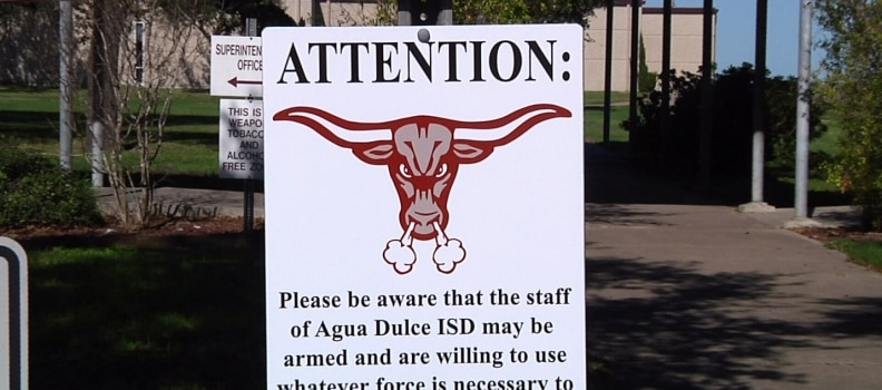 Agua Dulce School District: Staff may be armed, leave our students alone!