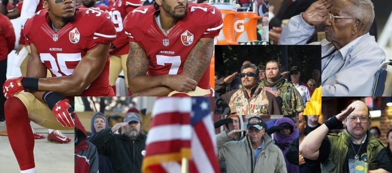 Taking a knee during Anthem? You INSULT the VETERAN who stands and SALUTES! …We fought for OUR RIGHT to SALUTE TOO!