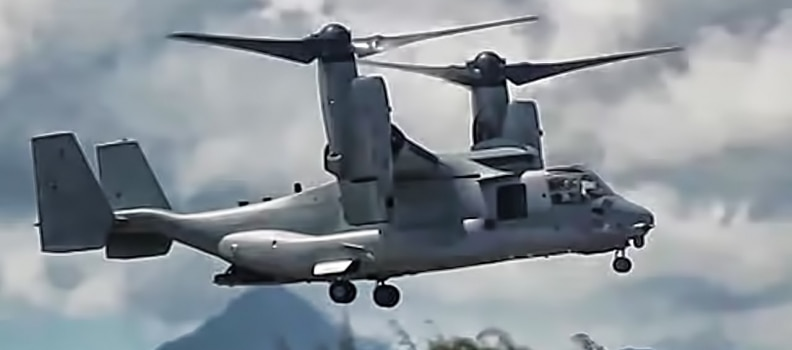 Osprey MV-22B has wings temporarily clipped in Japan